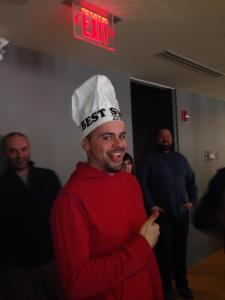 Of course Sam won. Also - try to take a conference call seriously when someone is wearing a chef hat during it.