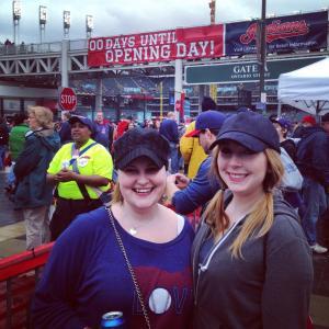 Jen and I pregaming outside Progressive Field.